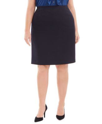 Plus Size Textured Pencil Skirt