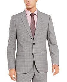 Men's Slim-Fit Medium Gray Check Suit Separate Jacket