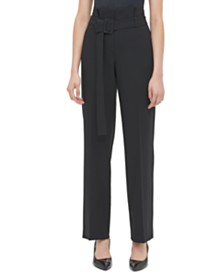 Calvin Klein Belted High-Rise Pants