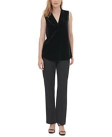 Calvin Klein Sleeveless Velvet V-Neck Top