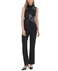 Calvin Klein Mixed-Media Sleeveless Top
