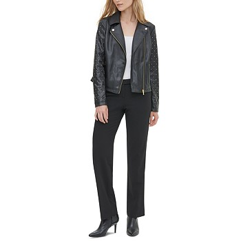 Calvin Klein Studded Faux-Leather Motorcycle Jacket