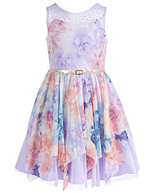 Beautees Big Girls Belted & Embellished Floral Mesh Skater Dress