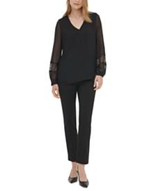 Calvin Klein Lace-Inset Blouse