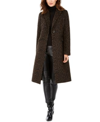 Plus Size Single-Button Leopard Coat, Created for Macy's