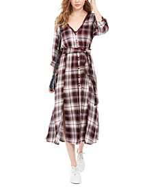 Juniors' Plaid Maxi Shirtdress, Created For Macy's