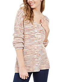 Juniors' Lace-Up Mixed-Knit Sweater, Created For Macy's