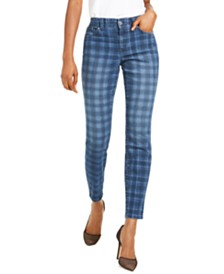I.N.C. Petite Washed-Plaid Skinny Jeans, Created For Macy's