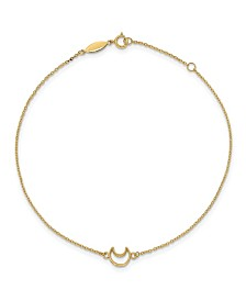 Polished Moon Anklet in 14k Yellow Gold