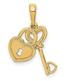 Key and Heart Shaped Lock Pendant in 14k Yellow Gold