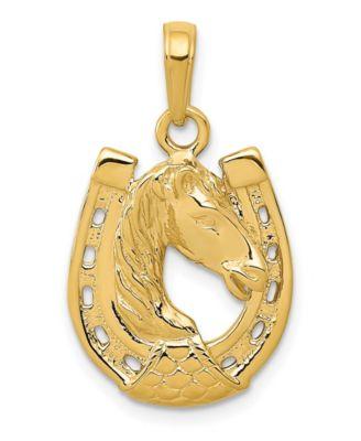 14k Yellow Gold Horseshoe with Horse Head Pendant