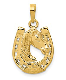 Horse Head in Horseshoe Pendant in 14k Yellow Gold