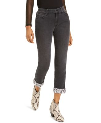 INC International Concepts Rhinestone-Studded Cuffed Slim Jeans