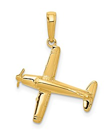 Low-Wing Airplane Pendant in 14k Yellow Gold