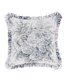 "Estelle Blue 16"" Square Decorative Throw Pillow"