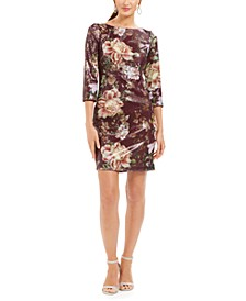 Sequined Floral Shift Dress