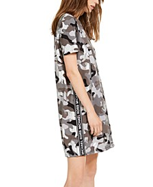 Cotton Camo-Print Logo Dress, Regular & Petite Sizes