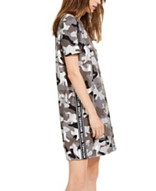 Michael Kors Cotton Camo-Print Logo Dress, Regular & Petite Sizes