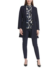 DKNY Two-Button Jacket, Dot-Print Pleated Tie-Neck Top, & Essex Pants