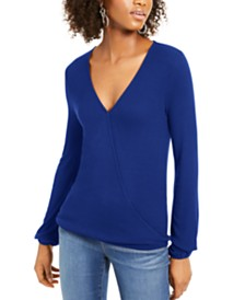 I.N.C. Surplice Ribbed Top, Created For Macy's