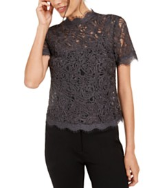 Anne Klein Lace Scalloped-Trim Top
