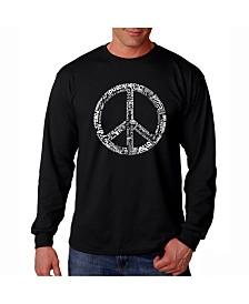 LA Pop Art Men's Word Art Long Sleeve T-Shirt- Peace Sign In 77 Languages