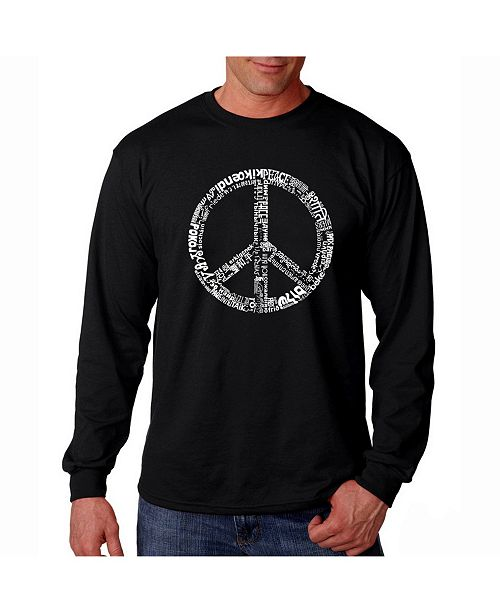 LA Pop Art Men's Word Art Long Sleeve T-Shirt- Peace Sign In 77 Languages