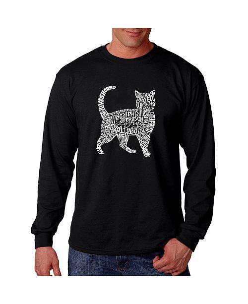 LA Pop Art Men's Word Art Long Sleeve T-Shirt - Cat
