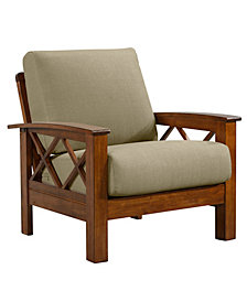 Handy Living Riverwood X Design Arm Chair with Exposed Cherry Wood Frame