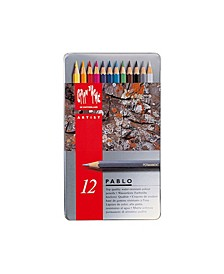 Pablo Permanent Colored Pencils in A Durable Metal Box, 12 Color Assortment