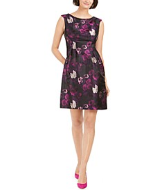 Petite Floral-Jacquard Fit & Flare Dress
