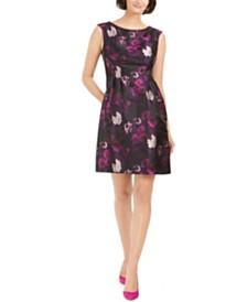 Jessica Howard Petite Floral-Jacquard Fit & Flare Dress
