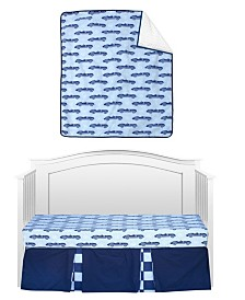 Pam Grace Creations Vintage Like Race cars 3 Piece Crib Bedding Set