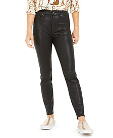 High-Waist Coated Skinny Ankle Jeans