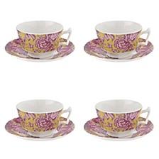 Kingsley Ochre Teacup & Saucer, Set of 4