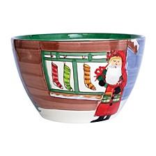 Old St. Nick Large Deep Bowl - Santa with Stockings