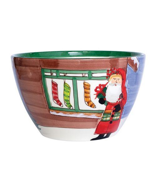 VIETRI Old St. Nick Large Deep Bowl - Santa with Stockings