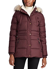 Petite Faux-Fur-Trim Down Puffer Coat, Created for Macy's