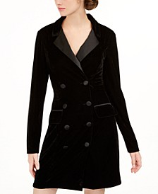 Juniors' Velvet Tuxedo Blazer Dress