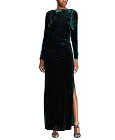 Sequined Long-Sleeve Gown