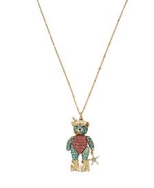Betsey Johnson Pave Scuba Bear Pendant Long Necklace