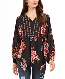 Printed Handkerchief-Hem Peasant Top, Created For Macy's