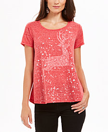 Style & Co Reindeer Graphic T-Shirt, Created For Macy's