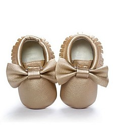 Emerson and Friends Baby Girl Bow and Fringe Moccasins