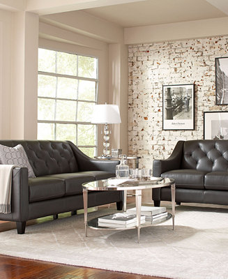 Claudia ii leather sofa living room furniture collection for Homebase living room ideas