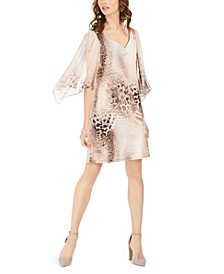 Animal-Print Chiffon-Sleeve Dress