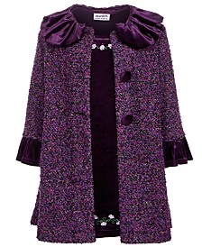 Blueberi Boulevard Little Girls 2-Pc. Tweed Coat & Embroidered Dress Set