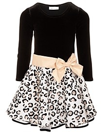 Little Girls Drop-Waist Glitter-Print Dress