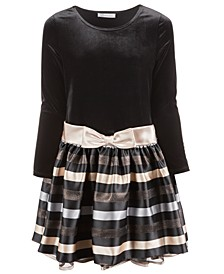 Big Girls Plus Size Velvet Striped Dress