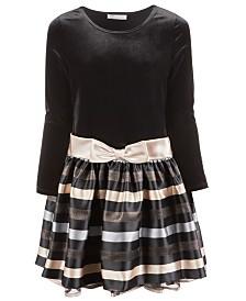 Bonnie Jean Little Girls Velvet Striped Dress